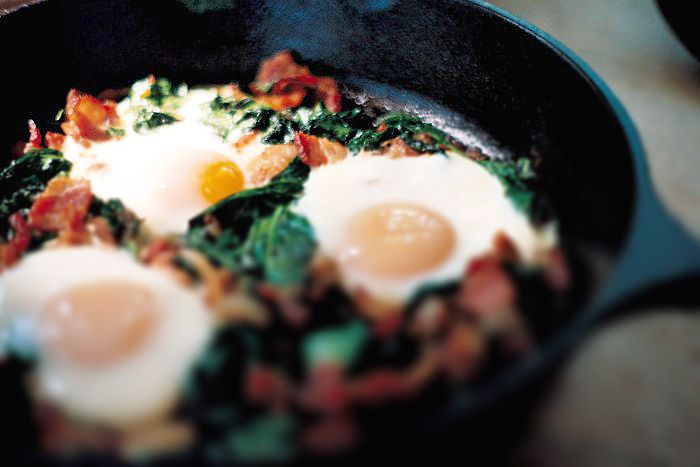 baked egg with bacon spinach and mushrooms recipes dishmaps baked eggs ...