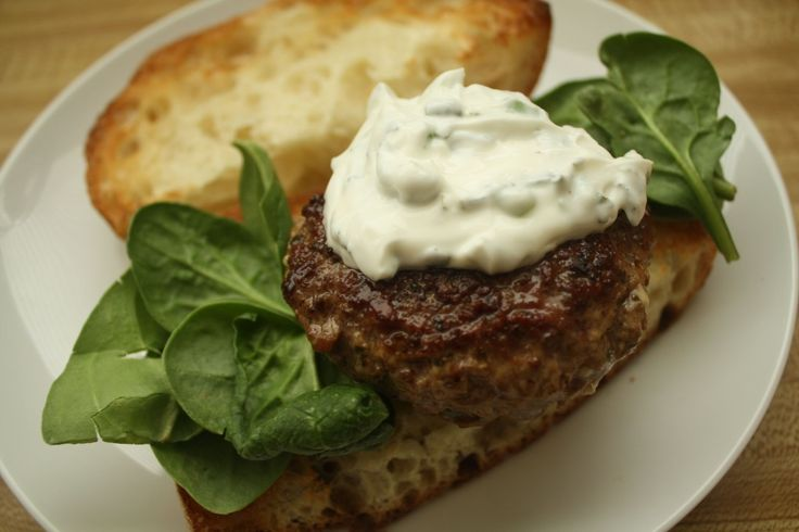 LAMB RECIPES- Lamb Burgers with Tzatziki | Burger Recipes | Pinterest