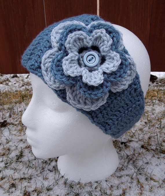 Crochet Pattern For Ear Warmer With Flower : Crochet Ear Warmer with Large Flower MADE TO ORDER