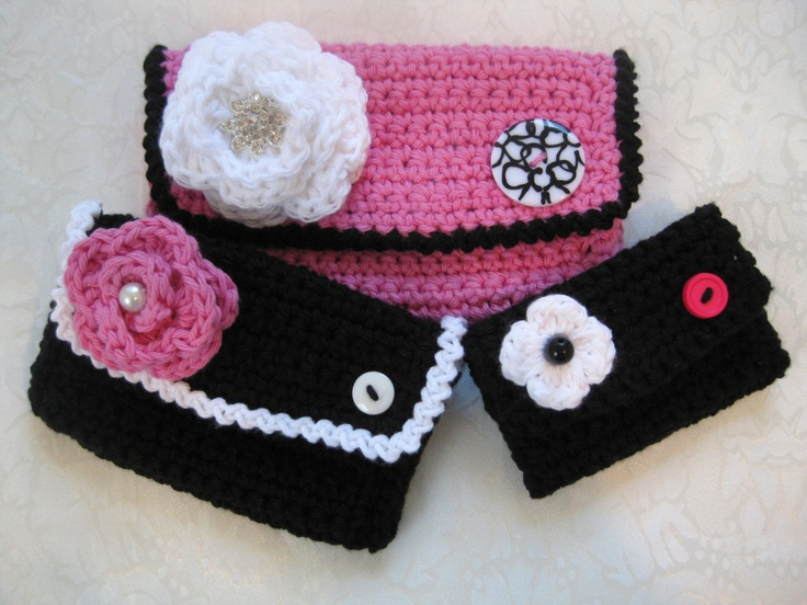 Crochet Quarter Keeper : Crochet Wallet, Coin Purse and Card Holder Set, Wallet,.