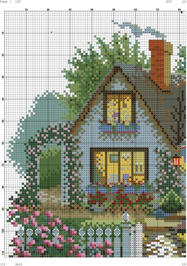 Схемы вышивки цветные домики 16
