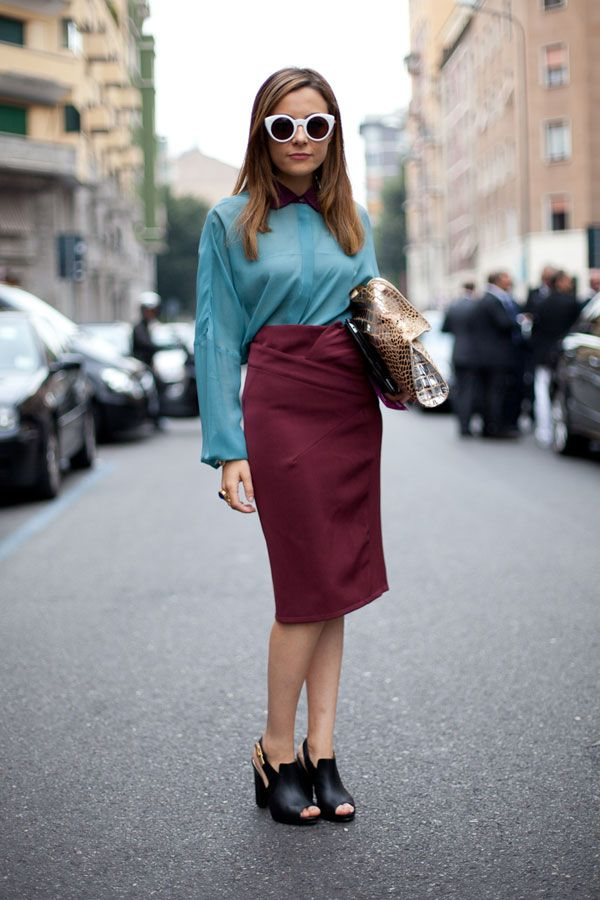 Color Blocking & Statement Sunnies - Milan Fashion Week Street Style 2013 - Harper's BAZAAR