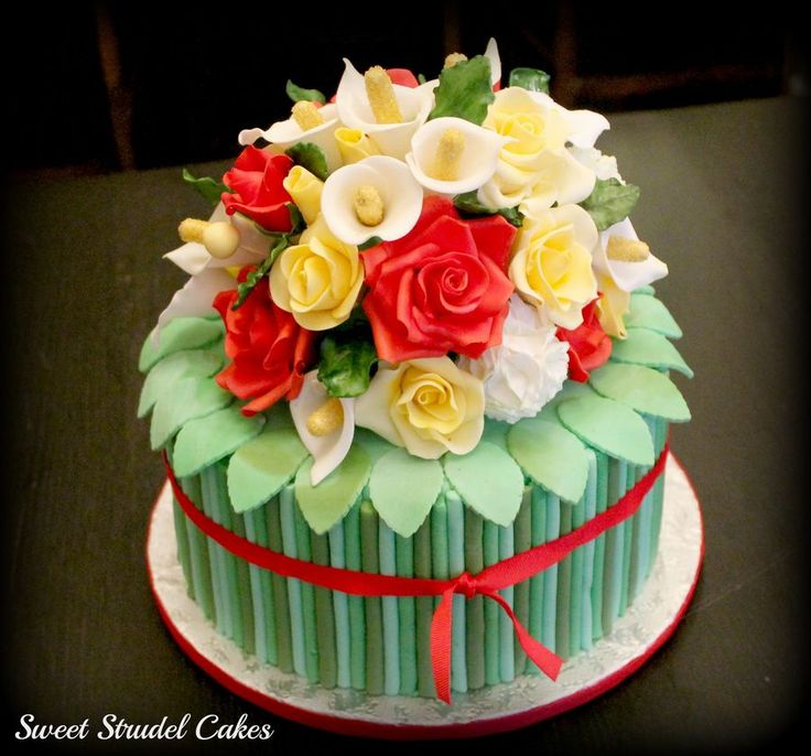 Images Of Birthday Cake With Bouquets : Bouquet Cake Gum Paste/Fondant Pinterest