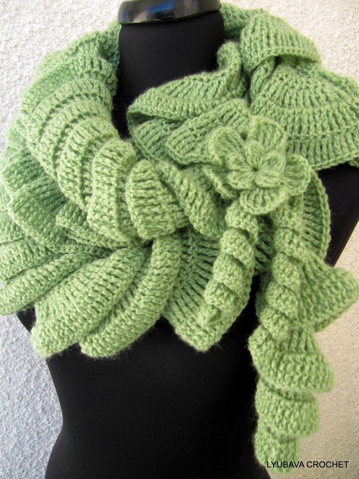 Crochet Pattern Lace Ruffle Scarf : Ruffle Scarf With Flower Crochet Patterns 2 PDF, Beautiful ...