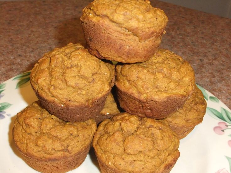 Whole wheat healthy Pumpkin Spice Muffins. You can use egg substitue ...