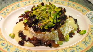 Savory Baked Brie with Dried Cranberries and Pistachios