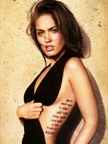 I love writing tattoos on the rib cage!  Probably cause she makes them look extra spicy!