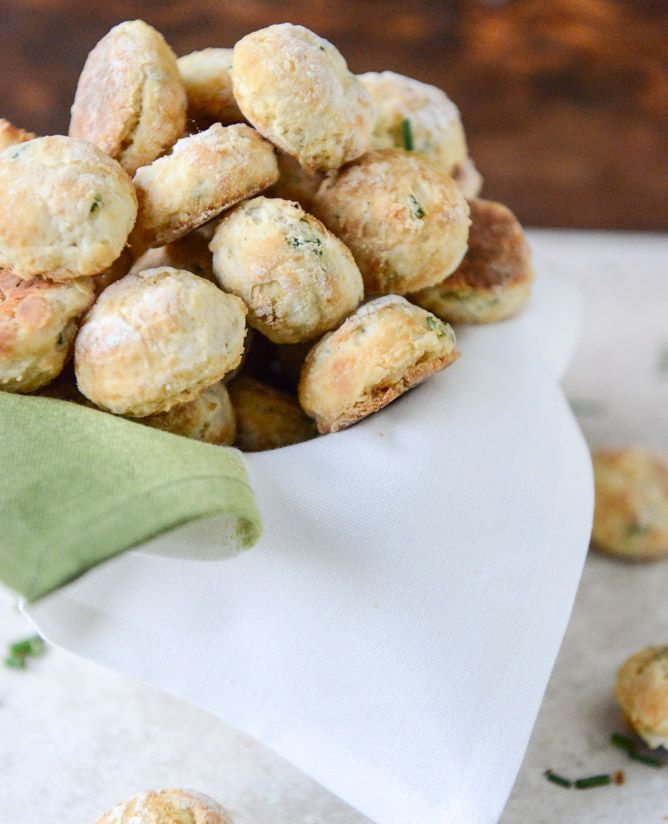 Mini cream cheese and chive biscuits—adorable AND delicious!.