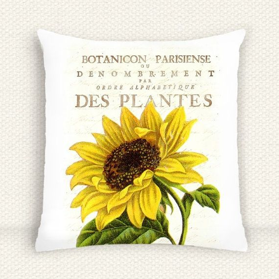 Vintage Botanical Sunflower Pillow Cushion Cover 16x16