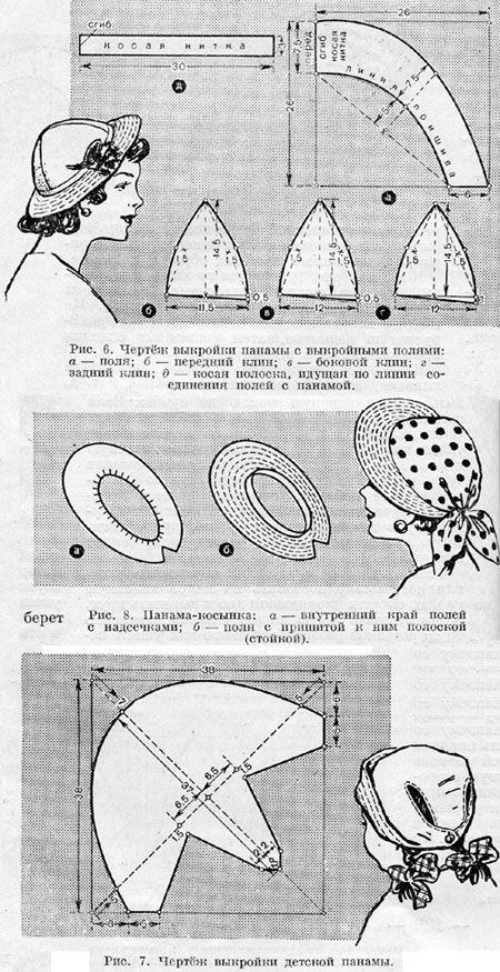Летние женские головные уборы выкройки