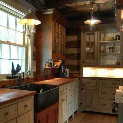 Primitive Log Cabin Kitchen