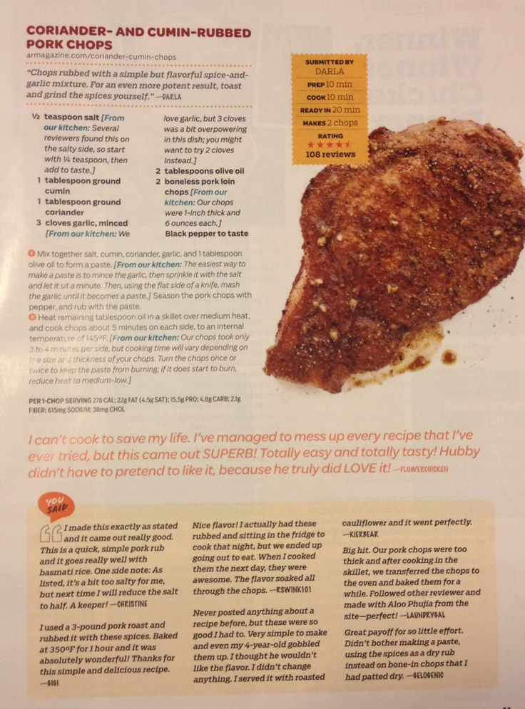 Coriander and cumin rubbed pork chops | Num nums | Pinterest