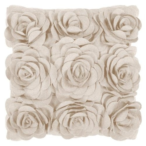 "22"" Parchment White Dimensional Applique Roses Decorative Throw Pillow"