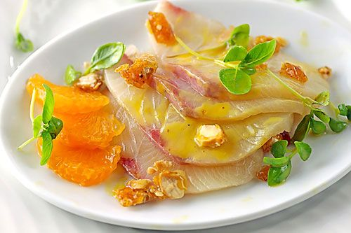 Hamachi Sashimi With Tangerine Vinaigrette and Spicy Almond Brittle