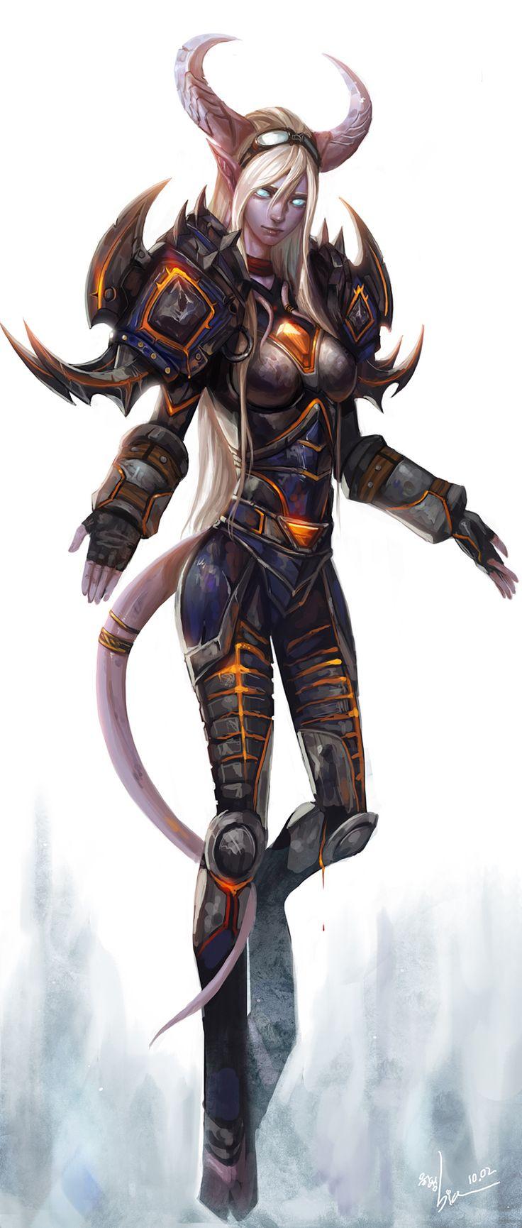 Draenei warrior female art anime tubes