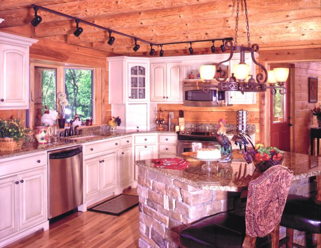 white cabinets, log home, kitchen  Home Style Board {Kitchen}  Pint