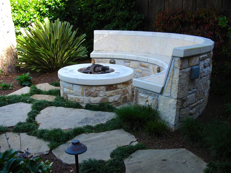 Stone fire pit bench gardens courtyards pinterest Fire pit benches