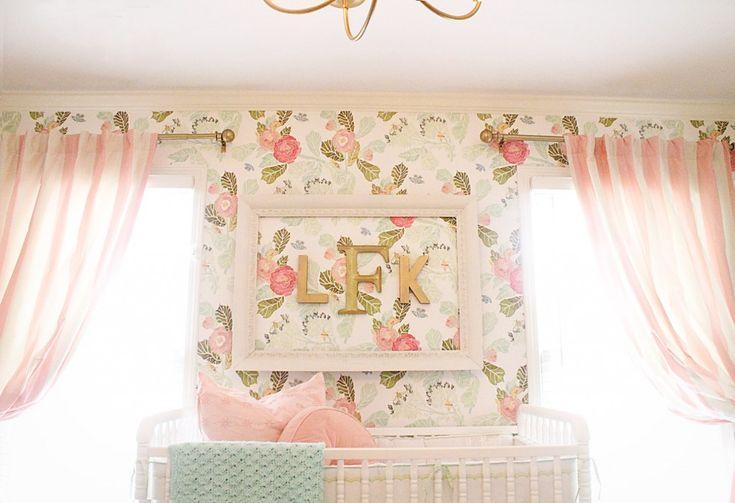 Framed monogram over the crib - LOVE! #nursery #wallpaper