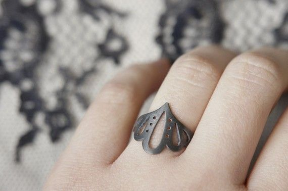 Lingerie Ring 004  Sterling Silver  Hand Cut by gemagenta on Etsy