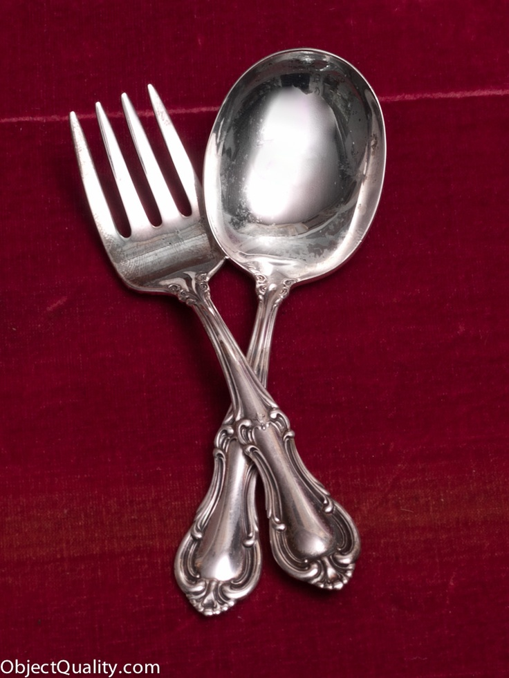 Pin by michelle love on vintage grace pinterest for Sterling silver baby spoon and fork