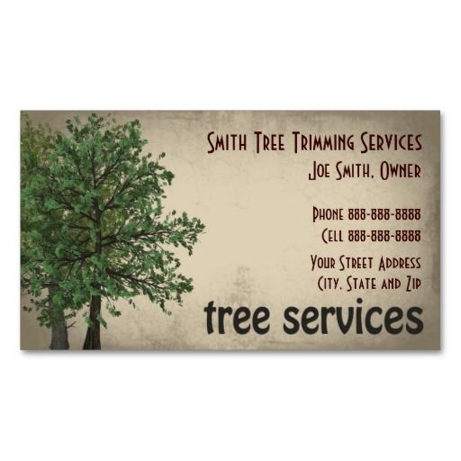 Tree trimming care services business card for Tree service business card
