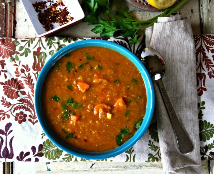 Moroccan Red Lentil Soup- making this right now. I added red potatoes ...
