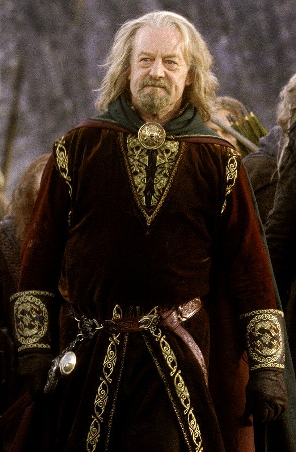 "Middle-earth:  King Theoden (Bernard Hill) of Rohan, the land of the horse lords, ""The Lord of the Rings."""