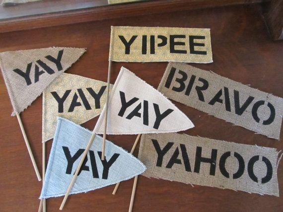 yay yipee yahoo hooray bravo flags wedding exit