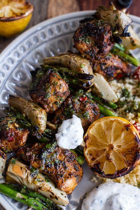 HealthyRecipe // Spring Veggie + Lemon Moroccan Chicken Skewers with ...