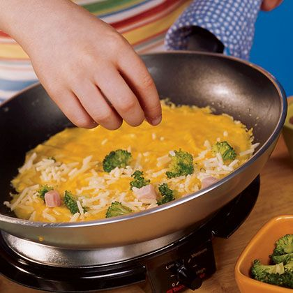 Broccoli, Ham, and Cheese Omelet | Recipe