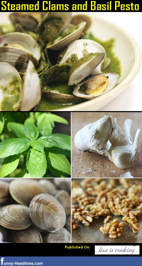 Steamed Clams and Basil Pesto | Food | Pinterest