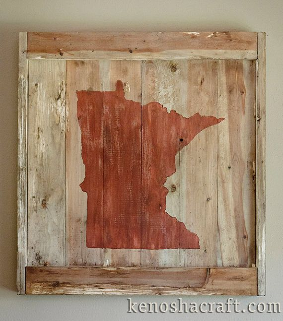 2x2ft Rustic Wooden Minnesota Wall Hanging All States And Many Colors