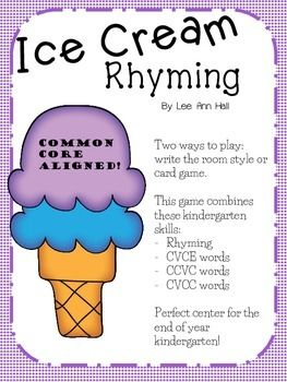 Ice Cream Rhymes - A Kindergarten Review Center