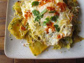 Chilaquiles Verdes with Roasted Tomatillo Salsa. These were pretty ...