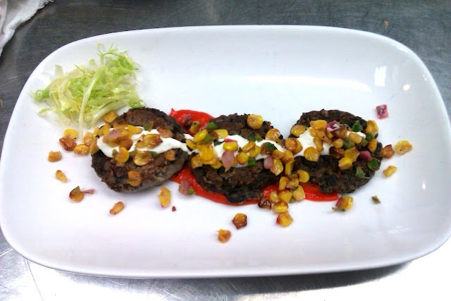 ... , cilantro-lime creme fraiche, roasted corn salsa, and frisee salad