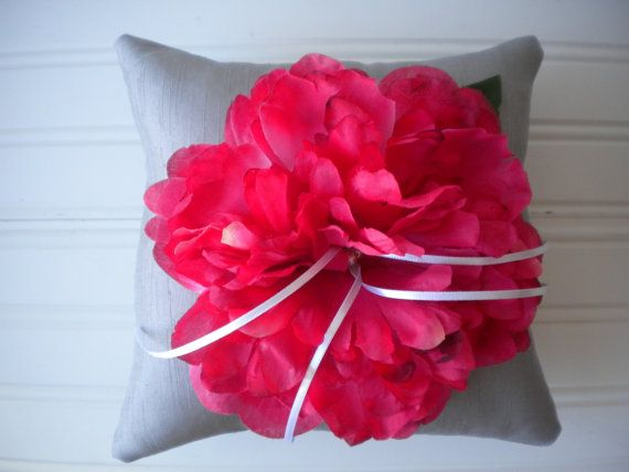 Hot Pink Peony Ring Bearer Pillow by DaniCalve on Etsy   25 00Hot Pink Peony