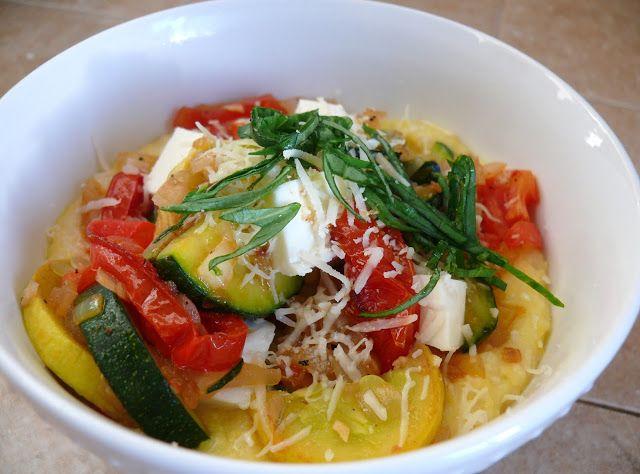 Tomatoes, Squash and Fresh Mozzarella with Creamy Polenta