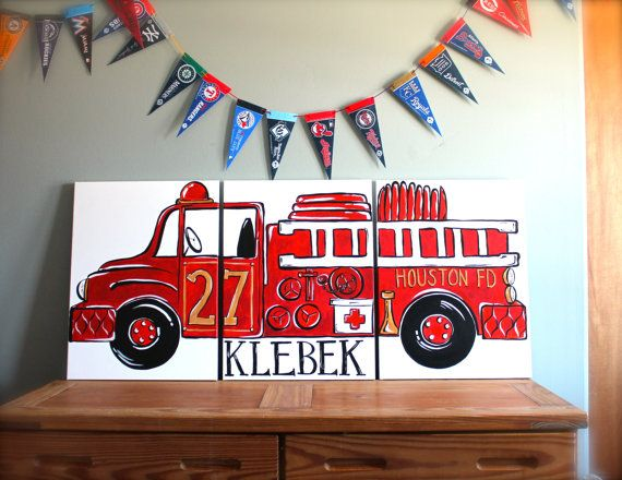 Triptych red vintage fire truck 54 x24 original painting for Fire truck bedroom ideas