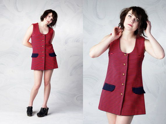 vintage 60's red and navy blue sailor dress women's striped top with