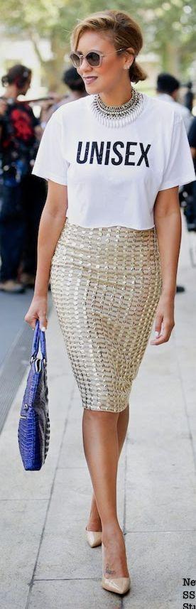 Label London Gold Check Embellished Pencil Skirt