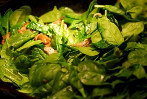Sauteed Spinach With Bacon, Bacon Grease, Shallots, & Mushrooms Recipe ...