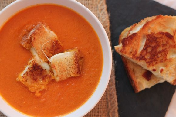 Tomato-Orange Soup With Grilled Cheese Croutons Recipe — Dishmaps