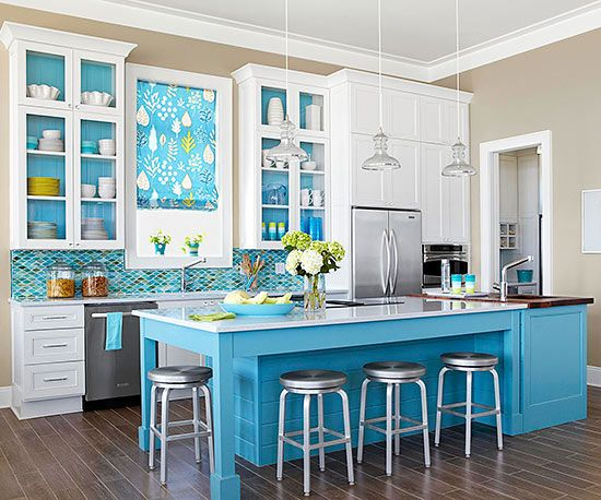 sea glass colors of turquoise and green in the tile backsplash