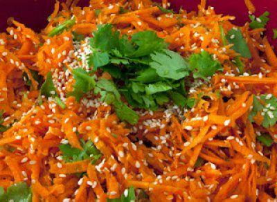 Carrot, Cilantro, and Sesame Salad w/ Miso Tahini Dressing