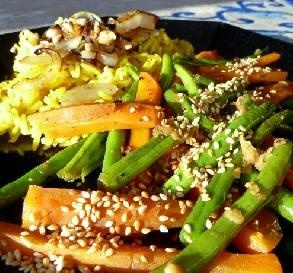 "Gingered Green Beans: ""We love the ginger, garlic and sesame combo ..."