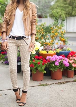 Polka dot skinny jeans.