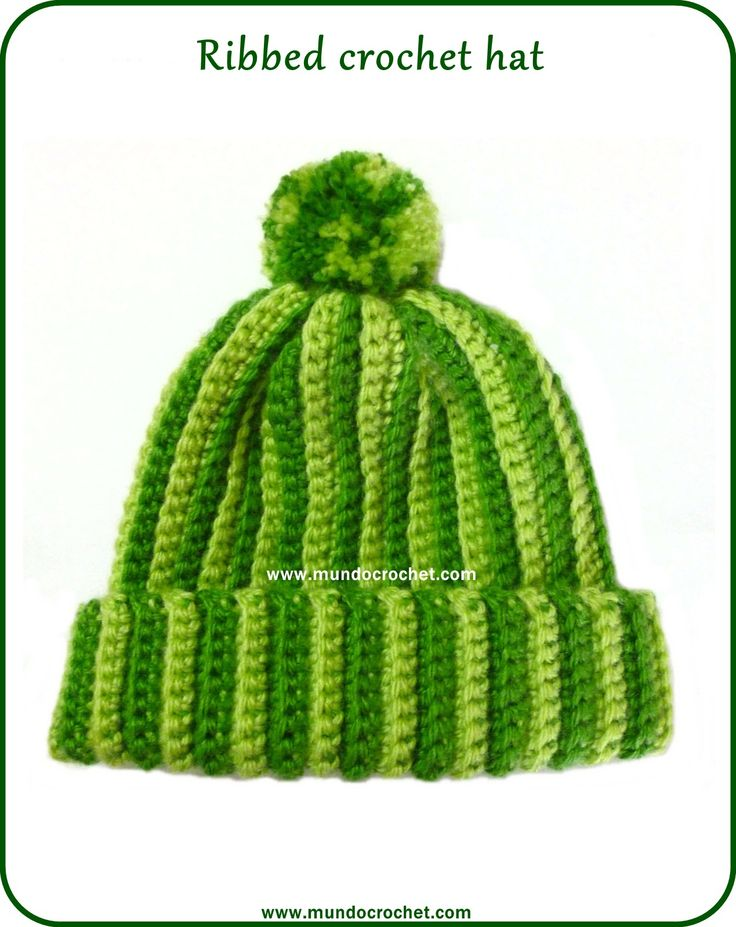 Crochet ribbed hat hats Pinterest