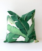 Green Floral Decorative Designer Pillow Cover 18x18 NEW Accent Cushion Tropical Palm fronds Leaves nature jungle white forest modern Resort