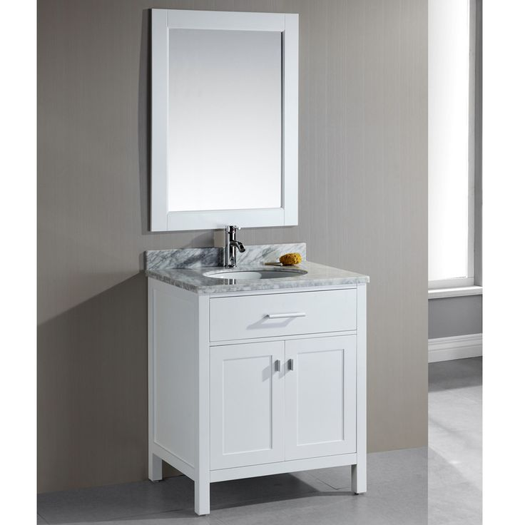 London 30Inch Single Sink White Bathroom Vanity Set  Overstock.com