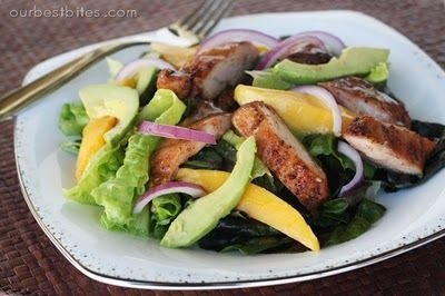 Spicy Honey Chicken Salad with mango and avocado